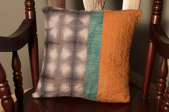 "Shibori Quilted Pillow Cover, Handmade Modern Pillow Cover, 18"" x 18"" Pillow Cover"