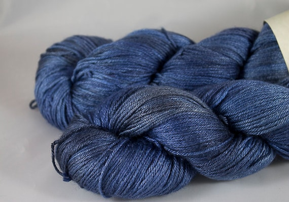 Silk and Wool Fingering Weight Yarn, Inkspill Colorway, Blue Silk and Superwash Merino Fingering Yarn