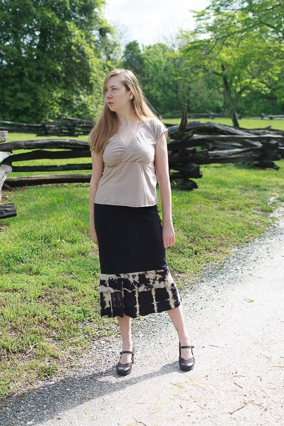 Saloon Skirt, Organic Cotton Ruffle Skirt, Shibori Skirt, Eco Friendly Skirt