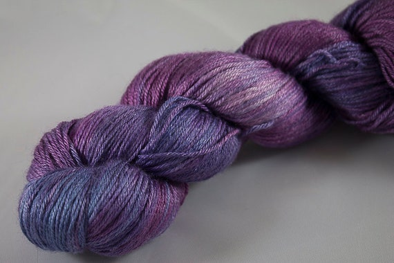 Silk and Wool Fingering Weight Yarn, Hand Dyed in Orchid Colorway, Purple Silk and Merino Fingering Yarn, Ready to Ship