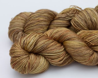 Hand Dyed Silk and Merino Fingering Weight Yarn, Don't Burn the Caramel! Colorway