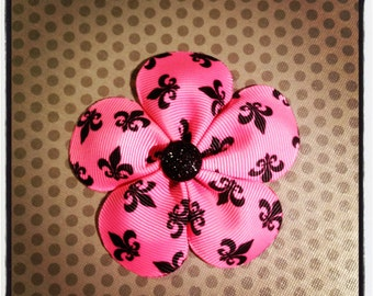 Hot Pink Fleur De Lis Flower Hairclip...Girls Hairbows...Baby/Infant Hairbows...Hairclips