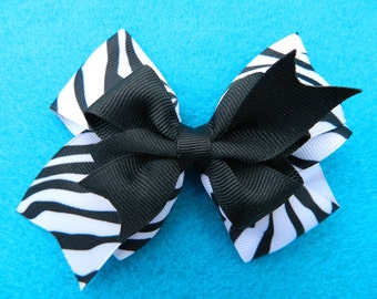 Black and White Zebra...Double Layer...Hairbow
