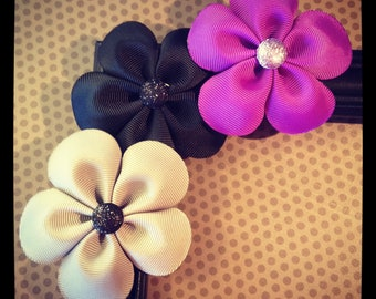 Gray, Black and Purple Flower Hairclip Set...Girls Hairclips...Baby/Infant Hairclips...Girls Hairbows...Hairbows