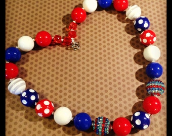 4th of July...Red, White and Blue...Chunky Bead Necklace...Necklaces...Childrens Jewelry...Chunky Beads...Jewelry...Girls Necklaces