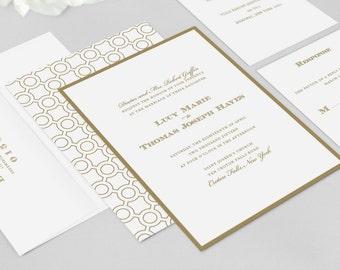 Vintage Wedding Invitation - Lucy Wedding Invitation Suite - Gold Wedding Invitation, Traditional, Elegant - Deposit to Get Started