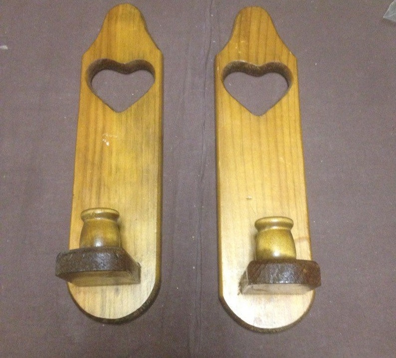Set of 2 wooden heart shape candle holders/ wooden candle image 0
