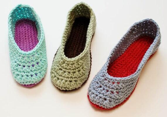 Crochet Pattern Ladies Crochet Slippers Pattern Etsy