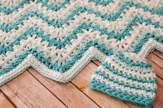 Crochet Pattern Gentle Ripple Baby Blanket And Hat Pattern Etsy