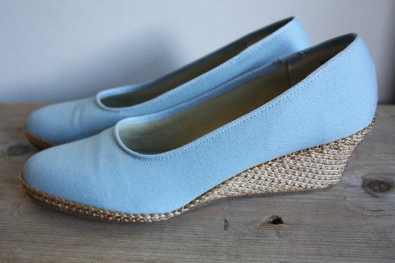 Vintage Canvas Espadrille Wedge Shoes Blue 9.5