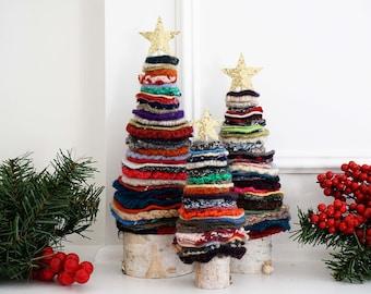 Felted Wool Christmas Tree Set   Handmade Wool Decor   Christmas Decorations