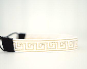 Gold and White Greek Key Headband