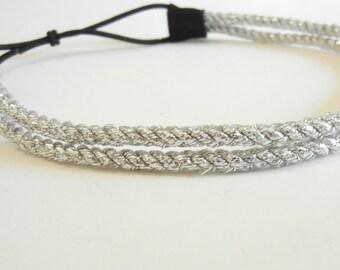 Double Strand Silver Rope Headband