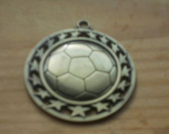 Large brass soccer pendant  ...jewelry.. assemblage piece ..new jewelry ...art...Great Condition !