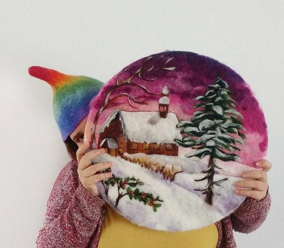 Addobbi Natalizi Vintage.Paesaggio Di Natale Vintage In Lana Cardata Feltro E Pittura Dipinto Addobbi Natalizi Di Nearteneparte