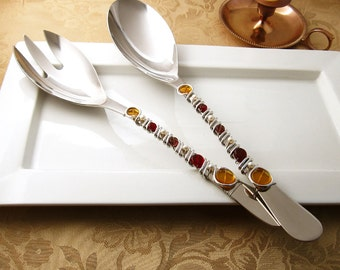 2 pc server set - Hand wire wrapped and beaded - topaz/garnet/purple glass disc beads and pearls