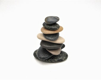 Stone Messenger Stacked Stones Natural Lake Michigan Beach Stone Cairn Sculpture #548 Stone Cottage Art Tiny Stone Cairn Rock Cairn