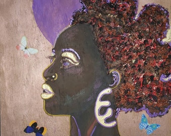 Sun  Day- Contemporary art, modern artwork, upcycled art, Black art, Black Queen black artist- original artwork by Parrish Monk