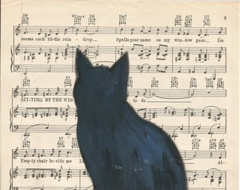 Blue- Contemporary art, upcycled artwork, enhanced print, art on sheet music, cat art, black cat painting,  by Parrish Monk