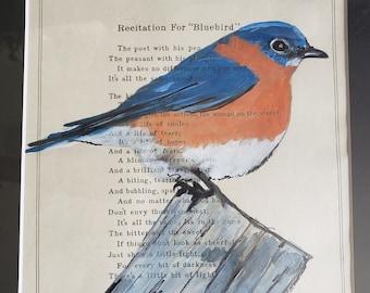 Bluebird IV- Contemporary art, art on sheet music art, nature bird art, black art, home décor  wall art- by Parrish Monk