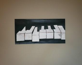 In Tune- Contemporary art, music art, Jazz art, modern abstract, piano painting, piano art, black art- original artwork by Parrish Monk