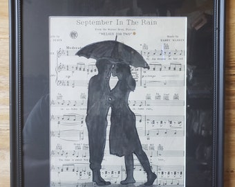Wet Kisses by Parrish Monk-  Contemporary modern artwork, romantic kiss, lover's art, kissing,  art for sale on sheet music, up-cycled
