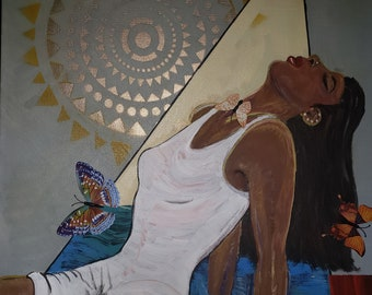 Taking a Moment to Reflect- Contemporary abstract art, freedom art, powerful woman, black art, , original artwork by Parrish Monk,