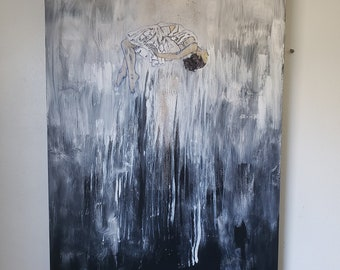 Ascension (Out of the Darkness that Covered Me)- Contemporary abstract artwork, modern art, black art, original art  by Parrish Monk
