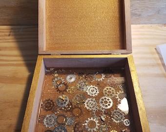 Mech Box- Contemporary woodcraft, keep sake box, jewelry box, hand painted jewelry box,  wood burned, wood art by Parrish Monk