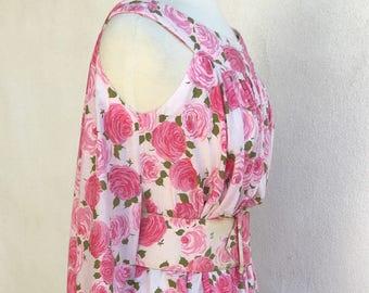 Vintage Boho pink floral tent dress belted Parade Sz S/M
