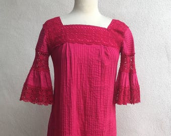Vintage pink raseberry Mexican maxi dress pintuck cotton crochet angel sleeves sz S/M