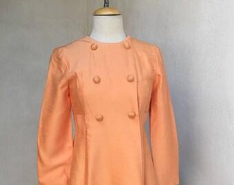 Sale Vintage mid century peach coat dress by Emma Domb SZ 7 small