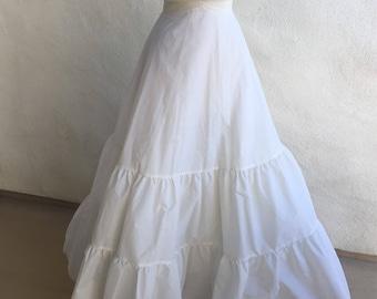 Vintage white wedding dress long petticoat slip elastic zipper waist sz small