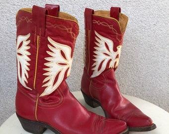 3bcea8ca2a Vintage red cowboy boots white eagle theme by Frye De Luxe sz 6.5 C. Style   8058