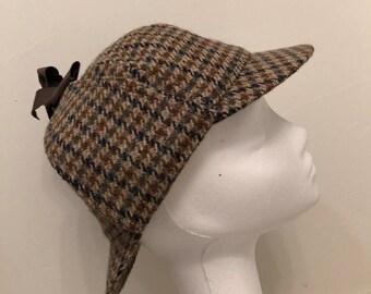 10187933b1f Vintage wool herringbone tweed print deer stalker inspector hat double bill  sz 7 1 4 or 59 by Fails Worth London