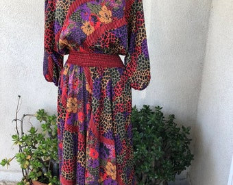 4cd1d7152a Vintage Diane Freis floral dress insert fabrics skirt elastic waist sz M  purple red pink colors