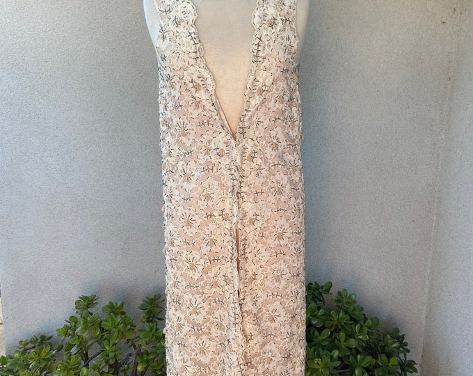 Vintage glam fancy ivory lace beaded tunic vest by Jack Bryan for Dupuis sz XS