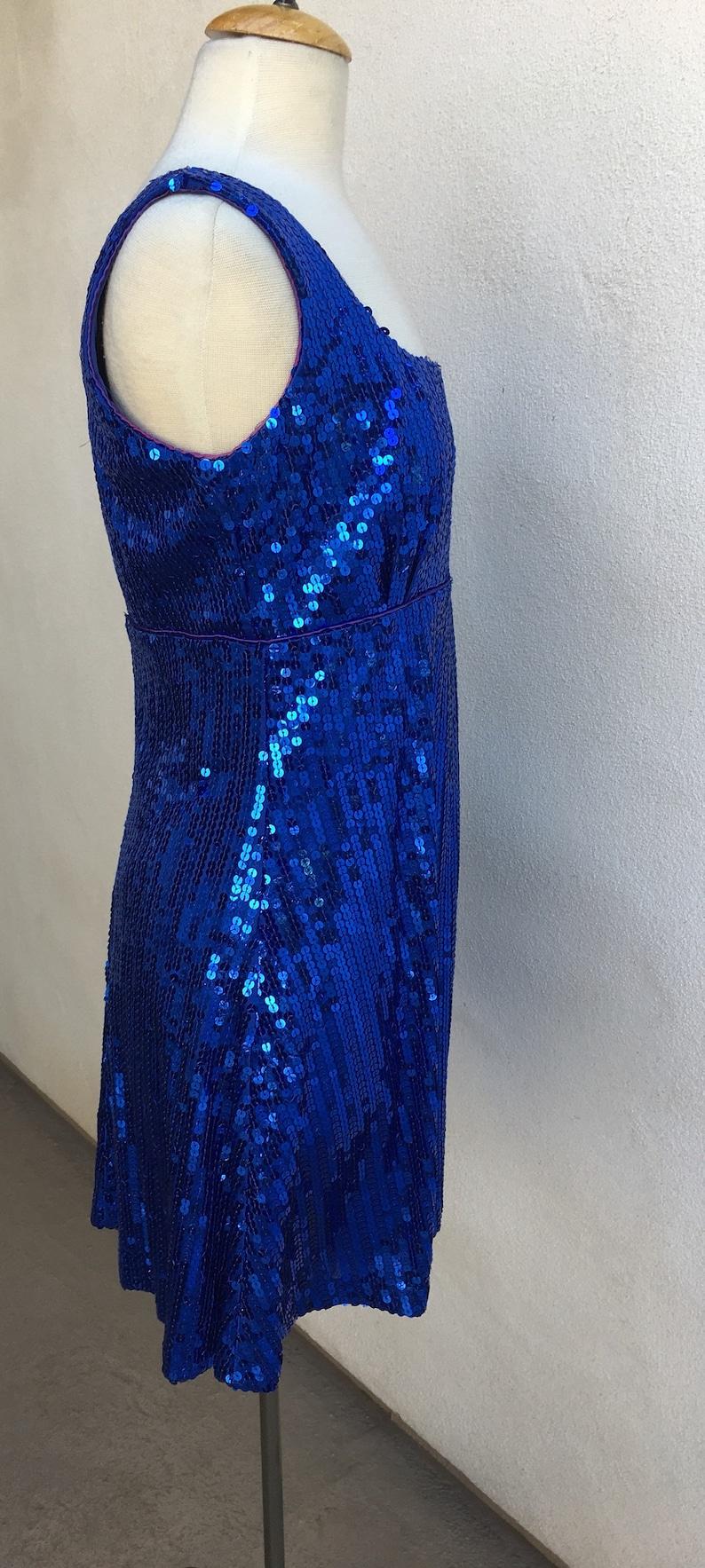 Vintage neon blue sequins party dress empire waist lined short Sz 13 14 Betsy & Adams