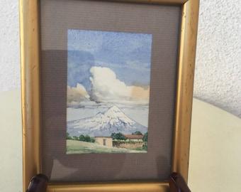 Vintage 1979 miniature watercolor painting Popocatepetl Mexico by Dan Van Gelder