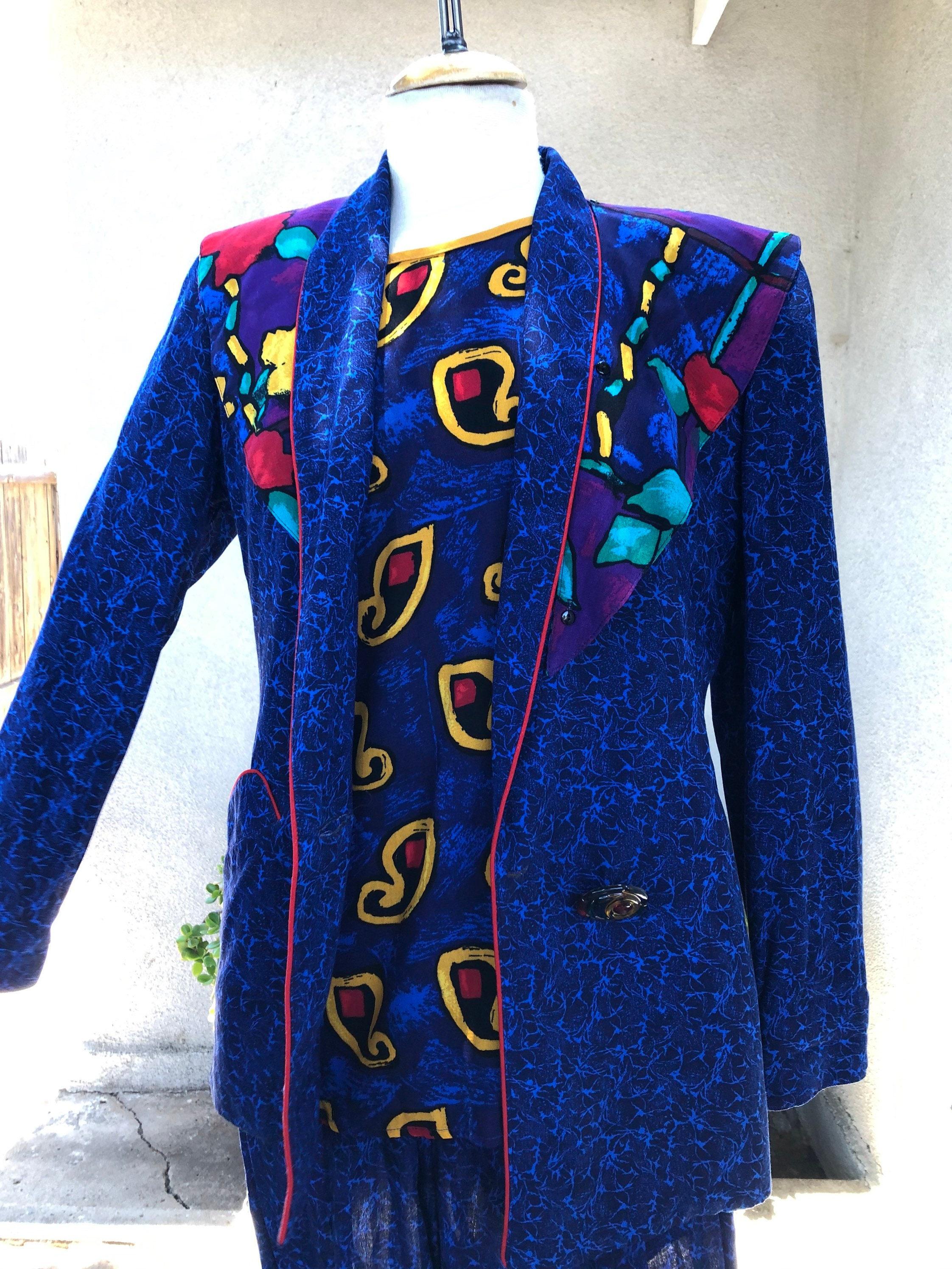 Vintage Scarf Styles -1920s to 1960s Vintage Platinum By Dorothy Schoelen 1980S Pants Suit Blazer Top Pant Blues Multi Colors Sz 4P $125.00 AT vintagedancer.com