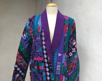 Vintage funky artsy boyfriend oversize jacket purples handmade sz M/L