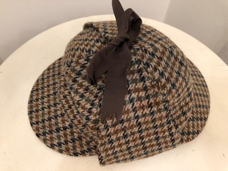 Vintage wool herringbone tweed print deer stalker inspector hat double bill sz 7 14 or 59 by Fails Worth London