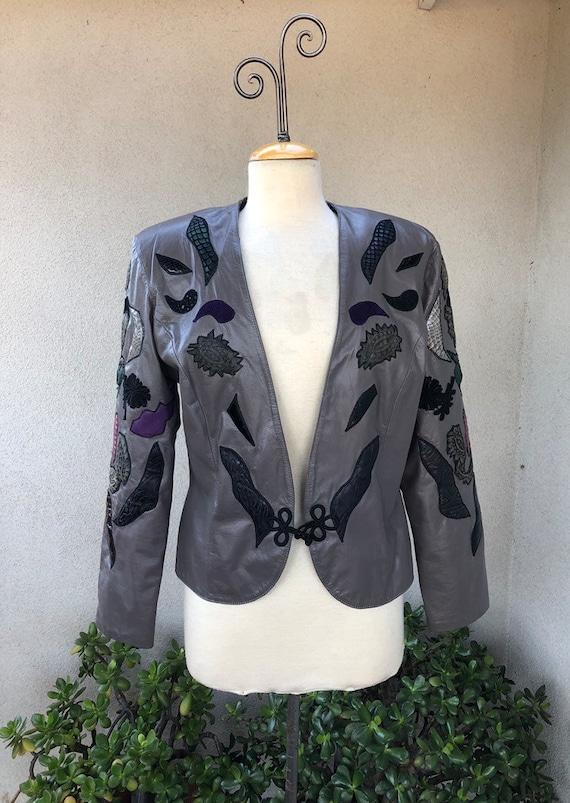 Vintage 80s crop jacket grey leather accent detail