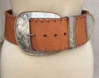 Vintage 1980 Al Beres super wide tan leather belt silver buckle etched sz M