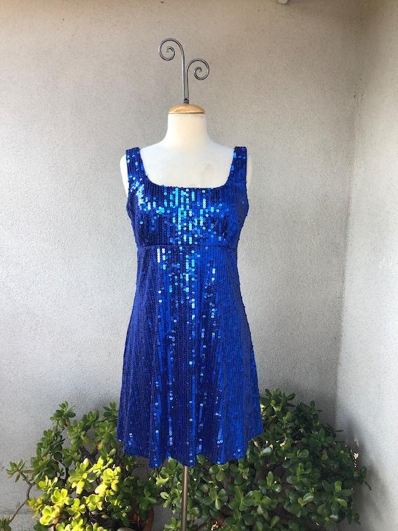 SALE Vintage neon blue sequins party dress empire waist lined short Sz 13 14 Betsy & Adams