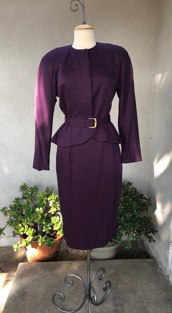 Vintage purple power suit pencil skirt peplum jack