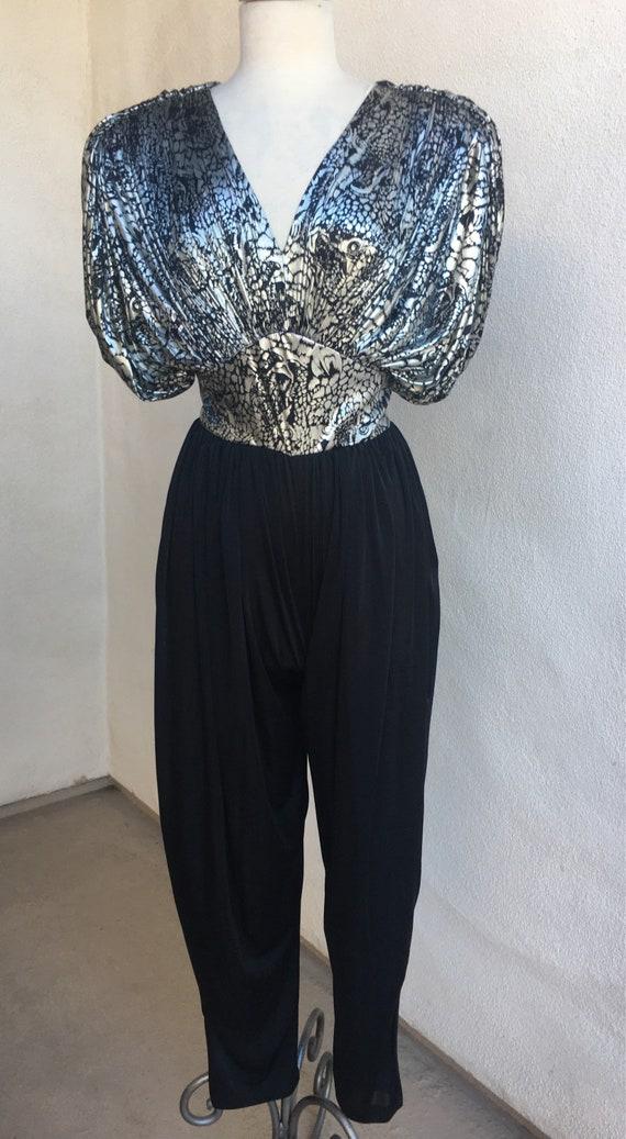 482a46fbccd Vintage glam jumpsuit animal print black silver metallic by Susan Roselli  for Vijack Sz 5 6