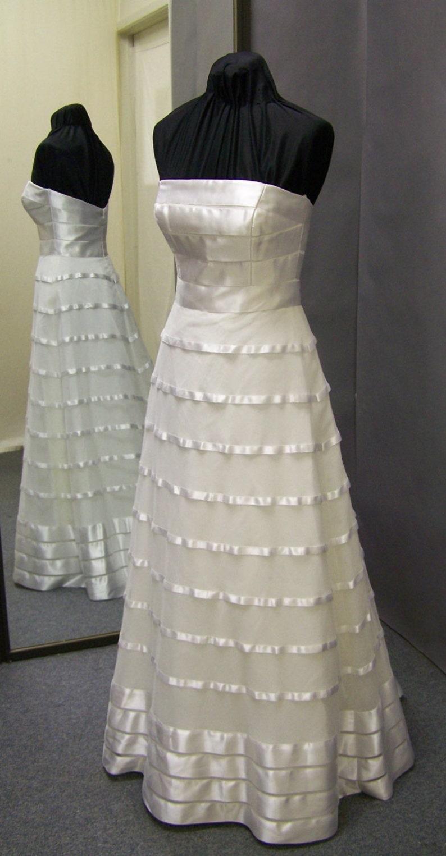 Sophisticated Strapless Natural White Wedding Dress Etsy