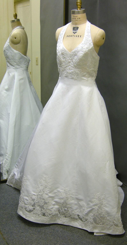 Plus Size Vintage White Satin Halter Top Wedding Dress Etsy