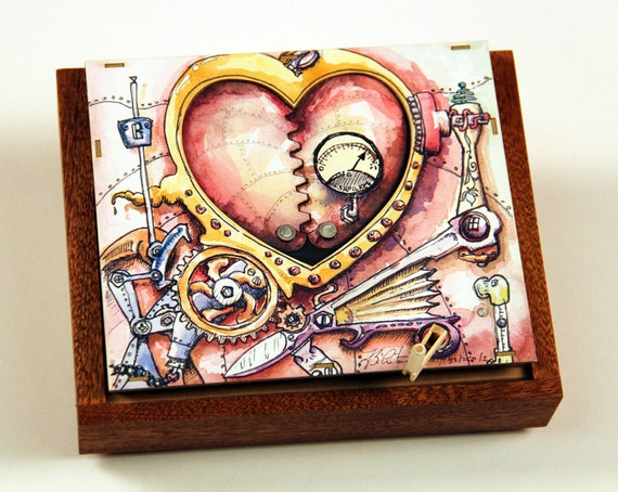 Steampunk Valentine - kinetic sculpture greeting card for lovers